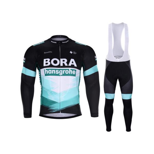 Zimní dres na kolo a zimní cyklistické kalhoty Bora-Hansgrohe 2020