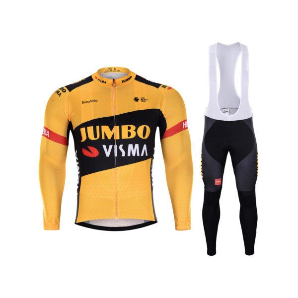 Zimní dres na kolo a zimní cyklistické kalhoty Lotto-Jumbo 2020 Visma
