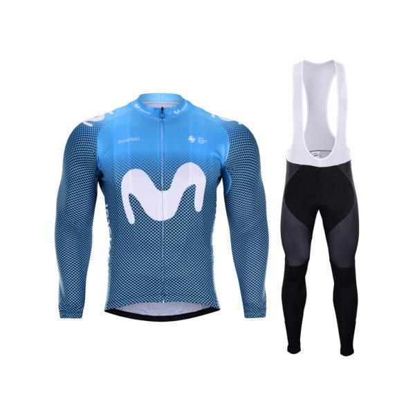 Zimní dres na kolo a zimní cyklistické kalhoty Movistar 2020