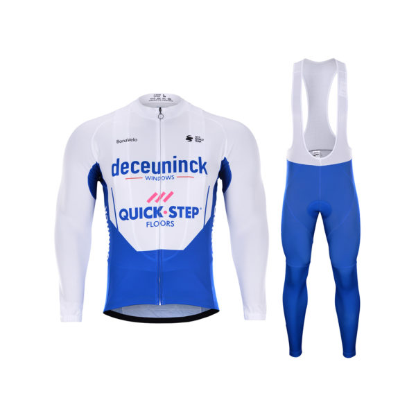 Zimní dres na kolo a zimní cyklistické kalhoty Quick-Step Floors 2020 Deceuninck